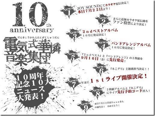 電気式華憐音楽集団10周年記念10大ニュース大発表!